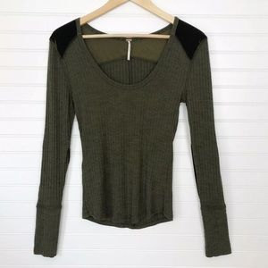 FreePeople Olive Green Ribbed Velvet Top Small EUC